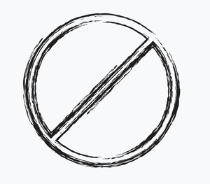 Graphic: circle with a slash through it for 'no' sign